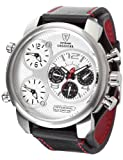 Detomaso CASABONA Multifunction Silver/Black DT2018-B_schwarz-57mm - Reloj analógico de cuarzo para hombre, correa de cuero color negro (agujas luminiscentes)