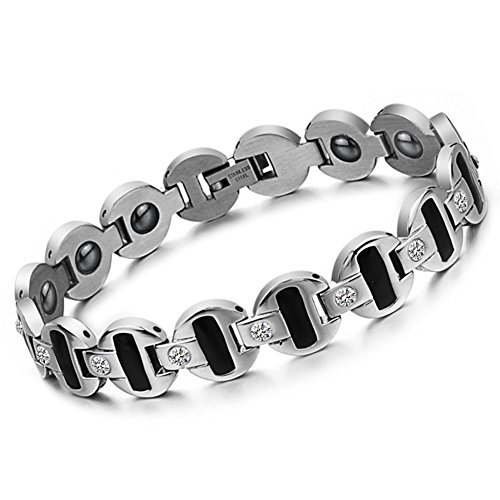 Bemaystar Men'S Titanium Stainless Steel Bracelet Chain Rhinestone Magnetic Wristband
