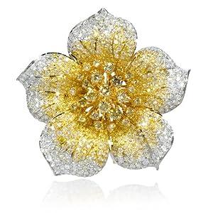 Diamond 18k Two Tone Gold Flower Brooch Pin