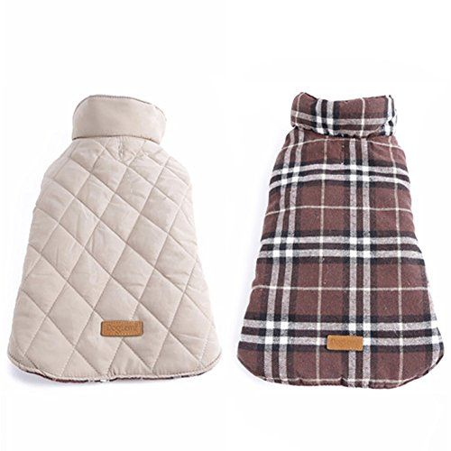 Kuoser-Cozy-Waterproof-Windproof-Reversible-British-style-Plaid-Dog-Vest-Winter-Coat-Warm-Dog-Apparel-for-Cold-Weather-Dog-Jacket-for-Small-Medium-Large-dogs-with-Furry-Collar-XS-3XL