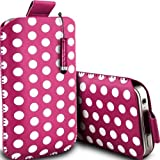 Mobile-Bits4u SAMSUNG Tocco Lite S5230 Hot Pink Polka Dot Design PU Leather Pull Tab Protective Pouch Case and High Capacity Mini Stylus Pen (M)