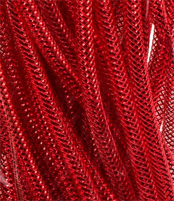 [Decoration Crafter's Square Christmas Decorative Mesh Tubes, 12-yd. Lengths. Holiday Wreath RED] (Homemade Kids Halloween Costumes Unique)