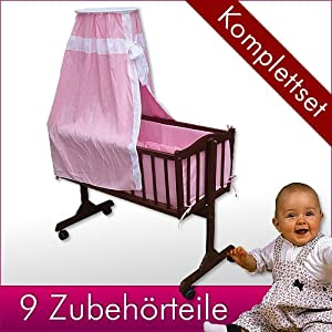 babywiege stubenwagen schukelwiege wiege inkl rollen und zubeh r braun rosa wiegenset bett. Black Bedroom Furniture Sets. Home Design Ideas