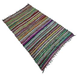 Floor Runner Hand Woven Indian Chindi Cotton Rag Rug Throw Recycled Mat Dari 68\