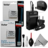 (2 Pack) NB-6L / NB-6LH Battery and Charger Kit for CANON PowerShot SX510 HS, SX500 IS, SX700 HS, SX280 HS, SX260 HS, SX170 IS - Includes: 2 Vivitar Ultra High Capacity Rechargeable 1700mAH Li-ion Batteries + AC/DC Vivitar Rapid Travel Charger + Cleaning Kit + MagicFiber Microfiber Lens Cleaning Cloth