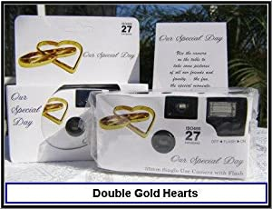 10 Pack Disposable Wedding Cameras, Double Gold Hearts, 35mm, 27 Exp, New in Gift Boxes