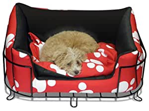 Platinum Pets White Paw Dog Bed with Metal Bed Frame Large