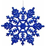 Club Pack of 24 Lavish Blue Glitter Snowflake Christmas Ornaments 4""