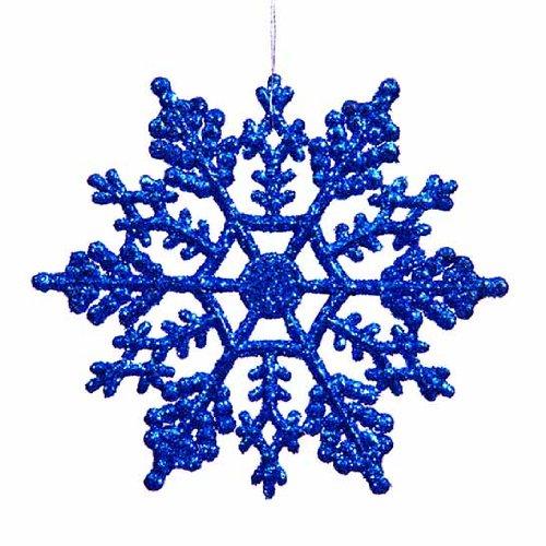 Lavish Blue Glitter Snowflake Ornament Set
