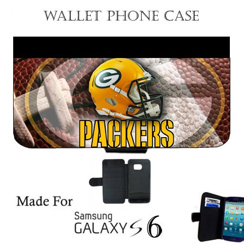 Packers Wallet cell phone Case / Cover Fits Samsung Galaxy S6 Great Gift Idea Green Bay Football by MYDply