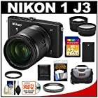 Nikon 1 J3 Digital Camera Body with 10-100mm VR Lens (Black) with 32GB Card + Battery + Case + Filter + Telephoto & Wide-Angle Lenses + Accessory Kit