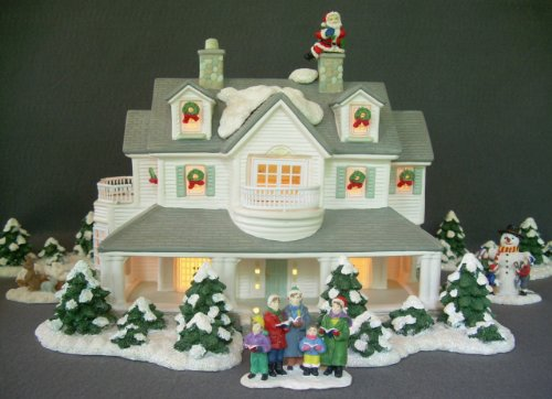 Lighted ceramic christmas village house and accessory package set