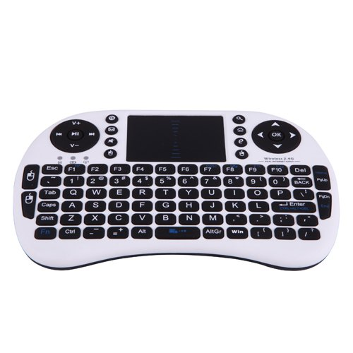 Hde 2.4Ghz Multi-Media Portable Wireless Handheld Mini Keyboard With Touchpad Mouse (White)