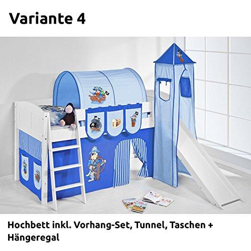 Hochbett Spielbett IDA Pirat Blau, mit Turm, Rutsche und Vorhang, weiß, Variante 4 jetzt bestellen