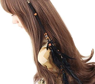 Blank K Boho Feder-Haar-Band, Handgemachte Haar-Band, 3 Funktionsstirnband, Kleid-Gurt, Halskette Schwarz