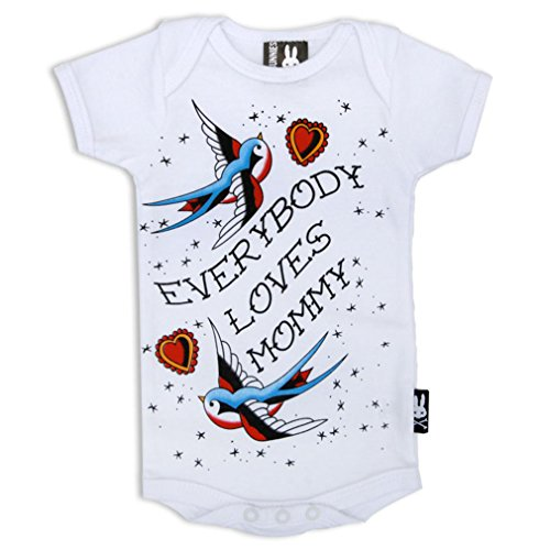 SIX Bunnies Baby body Old School Tattoo Print - Every Body LOVES Mommy pagliaccetto Bianco bianco 6-12 mesi