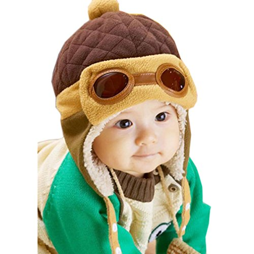 Feng New Jungen Winter Warm Cap Hat Mütze Pilot Aviator Crochet Mützen mit Ohrenklappen, Textil, braun, about 50cm