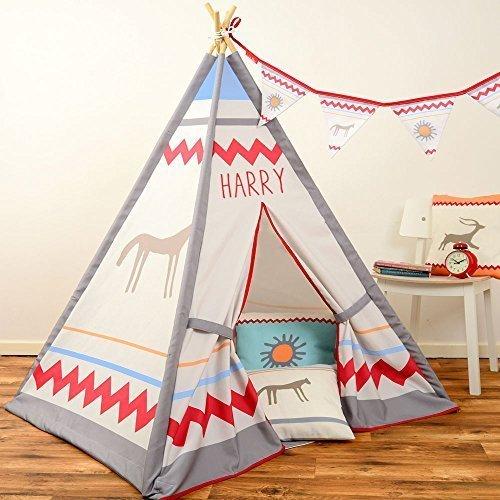 Kinder Tipi - Ureinwohner North American Design - Design, Bedruckt & handgefertigt in Großbritannien - Personalisiert, Innen