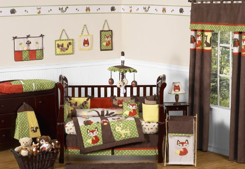 Woodland Forest Animals Owl Deer Tree Baby Boy Nature Bedding 9pc Crib Set by Sweet Jojo Designs