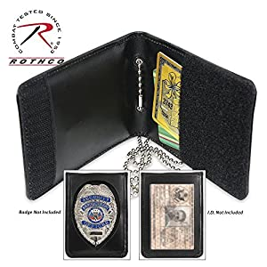 Leather Neck ID / Badge Holder 2 Fold Wallet w/Chain