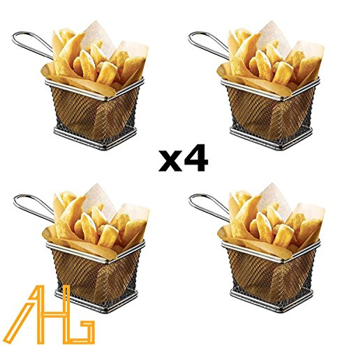Lot de 4 mini paniers friteuse Chromé 10 x 8 x 7 cm-4PCS mini-paniers de frittes en chrome pour service - Idéales pour les frites, des patates, rondelles d'oignon, des crevettes, des tapas & la présentation des aliments
