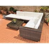 CLP Poly-Rattan Gartenmöbel Lounge-Set TUNIS, 6 Sitzplätze, Lounge Sofa + Tisch 80 x 80 cm + Auflagen/Kissen braun-meliert