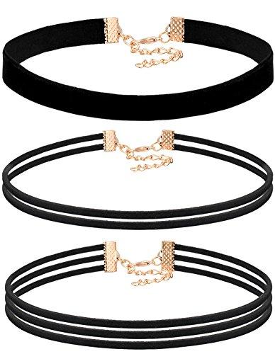 fibo-steel-leather-choker-necklace-for-women-girls-gothic-choker-velvet-necklace-3pcs-black
