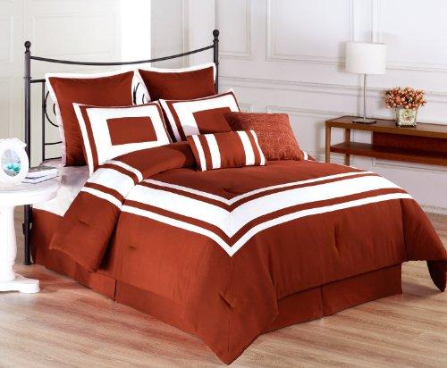 Lux Décor 8-Piece Comforter Set By Exceptionalsheets, Cal King, Burnt Orange front-581191