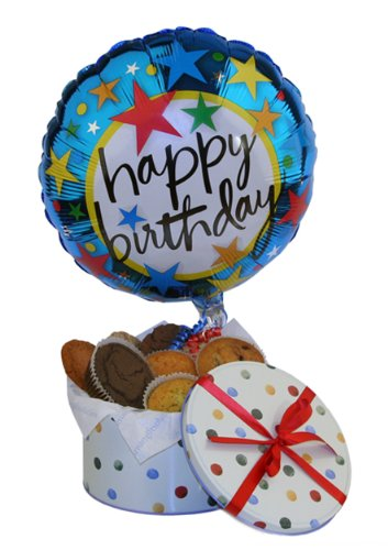 Birthday Balloon with Cookies and Muffins (Birthday Gifts)