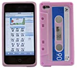 ITALKonline SoftSkin CASSETTE TAPE RETRO PINK BLUE WHITE Super Hydro Silicone Protective Armour/Case/Skin/Cover/Shell for Apple iPod Touch 4 4G (4th Generation) 8GB, 32GB, 64GB