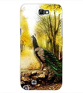 ColourCraft Beautiful Peacock Design Back Case Cover for SAMSUNG GALAXY NOTE 2 N7100