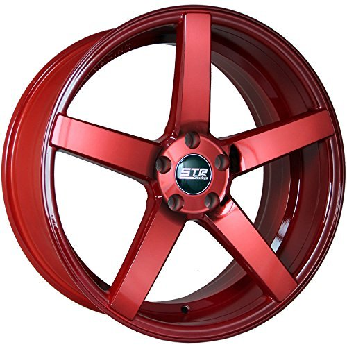 NEON RED STR 607 17X9 +15 5X114.3 RIM FIT TC XB TSX RSX MR2 CIVIC MUSTANG GT (Str Rims 17 Inch compare prices)