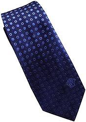 Versace Made In Italy Navy Blue Patterned 100% Silk Men's Tie