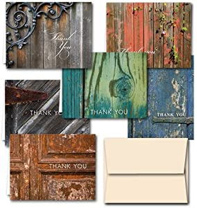 Rustic Thank You Note Cards - 36 Note Cards for $9.99 - in 6 Different Colors Including Tan Envelopes.