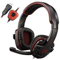 SADES ゲーミングヘッドセット 7.1chサラウンド ゲーミングヘッドフォン LEDライト マイク付き USB有線ゲームヘッドフォン 高音質 重低音 PCゲーム用ヘッドセット SADES SA-901 Gaming Headset ブラック&レッド