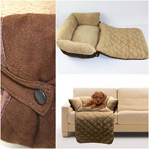 1Pc Monumental Modern Pet Sofa Bed Size L Suede Fabric Warm Blanket Dog Couch Color Brown