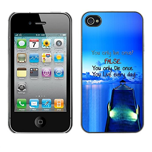 Qstar Colorful Printed Hard Protective Back Case Cover Shell Skin for Apple iPhone 4 / iPhone 4S / 4S ( Dock False Blue Live Die Ship Sea Ocean)