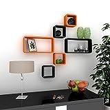 DecorNation Wall Shelf Set of Six Cube Rectangle Designer Wall Rack Shelves - Orange & Black
