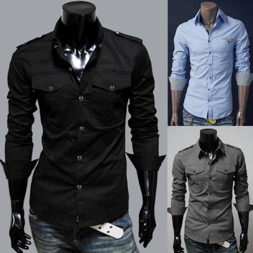 Designer Slim fit / cut Pocket Tailored Casual Point Neck Collar Basic Long sleeve cotton Dress Shirt Top UK 32-34 34-36 36-38 38-40 [ 2 Pocket Black XL ]