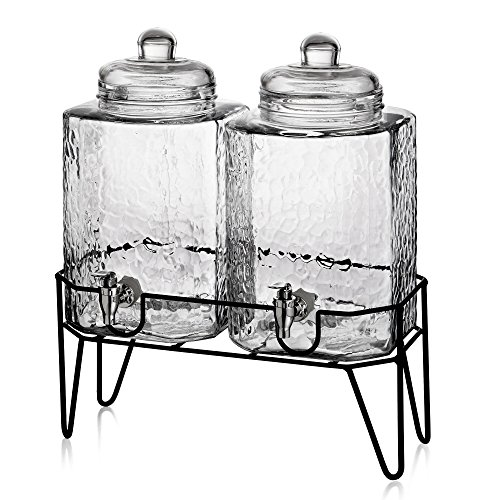 Style Setter Hamburg Dispensers with Stand (Set of 2), Clear (Drink Dispenser Set Of Two compare prices)