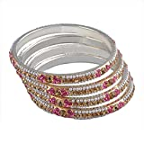 Ridhi Sidhi Collection Pink-Color Brass Alloy Bangle set for Women (Bangle Size- 2.6)[RSC-109-Medium]