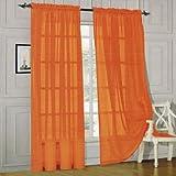 Elegant Comfort® 2 Piece Solid SHEER PANEL with ROD POCKET - Window Curtain 60-inch width X 84-inch Length - Orange