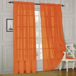 Elegant Comfort® 2 Piece Solid SHEER PANEL with ROD POCKET - Window Curtain 60-inch width X 84-inch Length - Orange