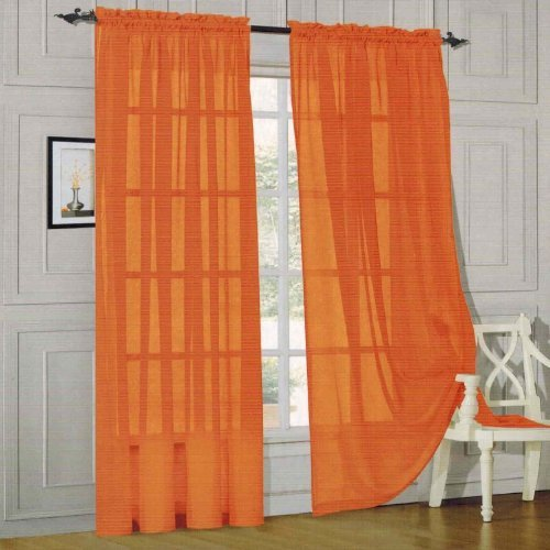 Elegant Comfort 2 Piece Solid Sheer Panel With Rod Pocket Window Curtain 60 Inch Width X 84
