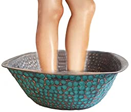 Portable Aged Bluish Matte Patina Copper Pedicure Foot Toenails Medical Spa Bath Beauty Sauna Massage Multi Purpose Square Pot Bowl