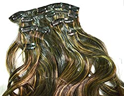 Artifice 6pcs/Set Multi Curly Silky Gold Highlighted 24 inch Hair Extension