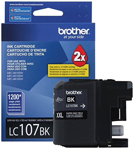 Brother Printer LC107BK Super High Yield Cartridge Ink, Black (Brother Ink Lc105 Xxl compare prices)