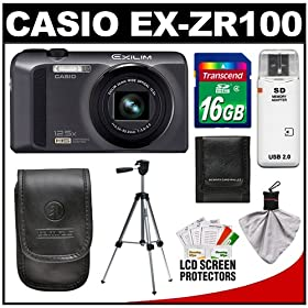 Casio Exilim EX-ZR100 High Speed Digital Camera (Black) with 16GB Card + Case + Tripod + Accessory Kit