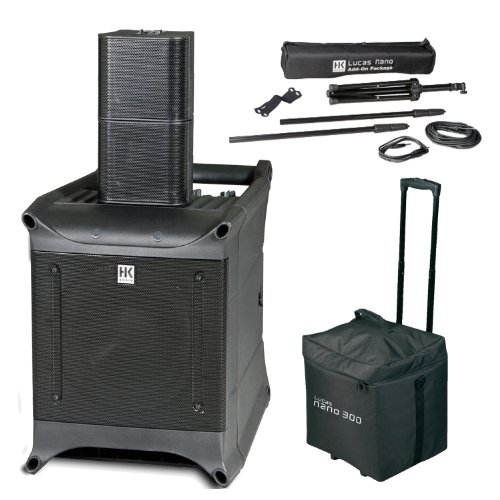 Hk Audio Lucas Nano 300 Portable Pa System W/ Detachable Speakers With Heavy-Duty, Light-Weight Pole Mounts And Lucasnano Speaker Roller Bag
