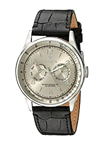 Invicta Men's 6749 Vintage Silver Dial Black Leather Watch